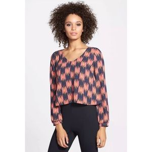 ASTR Printed Cropped Blouse